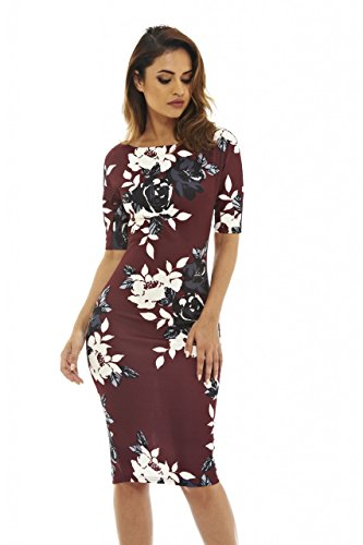 Sleeve Floral Burgundy Bodycon(Burgundy Floral, Size:12) ()