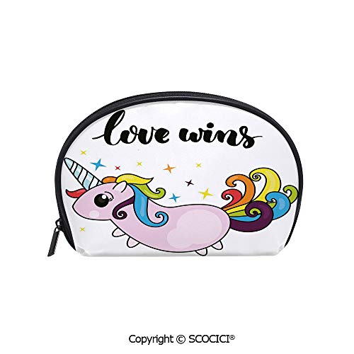SCOCICI Women Small Portable Cosmetic Bag Storage Bag LGBT Slogan with Stylized Writing Cute Unicorn Character Rainbow Tail Decorative Mini Storage Bag for Daily Travel