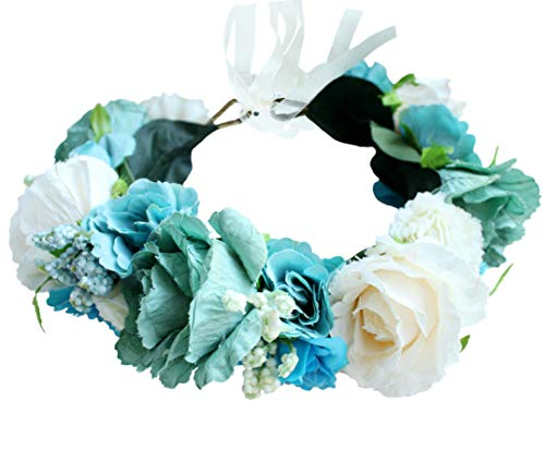 Price comparison product image Vivivalue Flower Wreath Crown Boho Flower Headband Hair Garland Floral Headpiece Halo with Ribbon Wedding Party Festival Photos Green