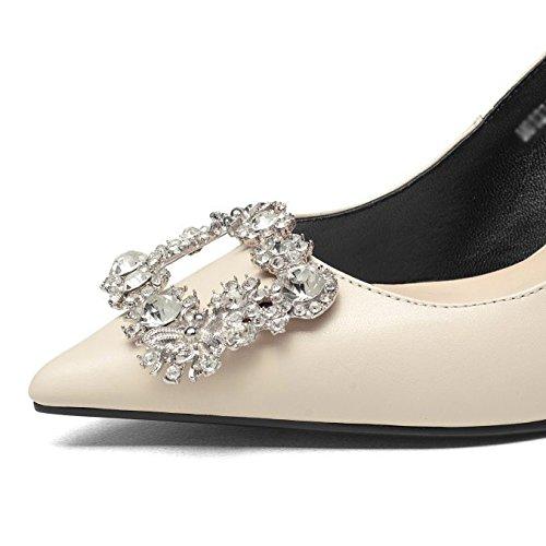 DKFJKI Talons Hauts en Cuir pour Femmes Escarpins Chaussures à Talons Aiguilles Mode Strass Robes Vêtements de Jour Beige o3B1yy1W