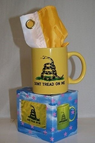 ALBATROS Yellow Gadsden Dont Tread on Me12 oz Ceramic Mug with 12 in x 18 in Tea Party Flag for Home and Parades, Official Party, All Weather Indoors Outdoors