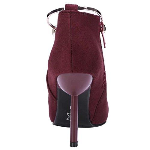 AIYOUMEI Damen Spitz Zehen Winter Stiletto Kurzschaft Stiefel mit Reißverschluss und Perlen Elegant Party Stiefeletten Weinrot