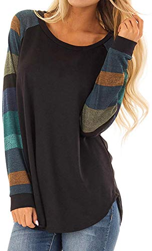 PINUPART Women's Casual Long Raglan Sleeve Wide Striped Printed Cotton Jersey Tops Blouse S 2black