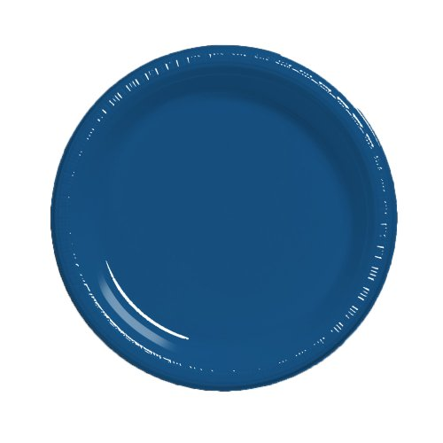 Creative Converting Touch of Color 20 Count Plastic Lunch Plates, Navy -