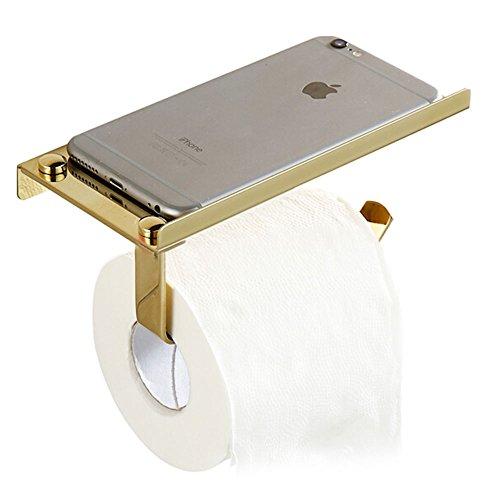 Pevor Stainless Steel Bathroom Paper Holder Wall Mount Toilet Tissue Roll Holder with Mobile Phone Storage Shelf (gold) ()