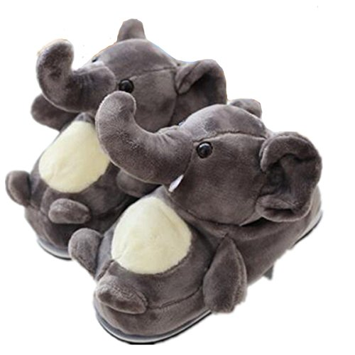 - Cute Animal Elephant Slippers, Cotton Slippers Slip Home Furnishing Warm Winter (US 4.5-7.5, Gray)
