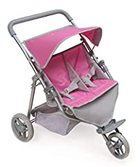 Badger Basket's Trek 3-Wheel Folding Twin Doll Jogging Stroller offers double doll fun on triple wheels for little parents and their toy babies and stuffed animals. A screen-free toy for role-playing mom and dad for hours! Padded handle for c...