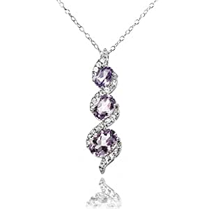 Sterling Silver Amethyst and White Topaz Oval S Design Three-Stone Journey Necklace