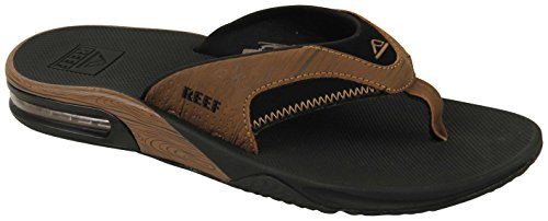 Reef Mens Fanning Prints Sandals, Black/Wood 2, Size 10