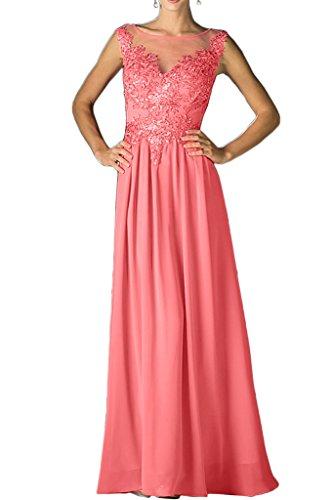 Rundkragen Damen Festkleid Promkleid Brautjungfernkleid lang A Abendkleid Ivydressing Linie Beliebt Wassermelone Chiffon Spitze Fqd4SO
