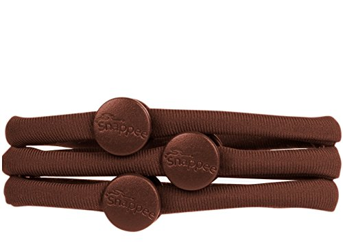 Strand Double New (Snappee - Snap-Off, No Crease Hair Ties (Brown) - Ouchless Pain-Free Removal for Curly/Thick/Natural Hair/Ponytails & Buns. Hand-Made with Non-Elastic Durable Soft Stretchy Washable Material)