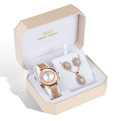 IBSO Women Jewelry Set Fashion Quartz Watches Rose Gold Crystal Diamond Necklace Earring Set Best Gifts for Women (8661-RG-SS-SET)