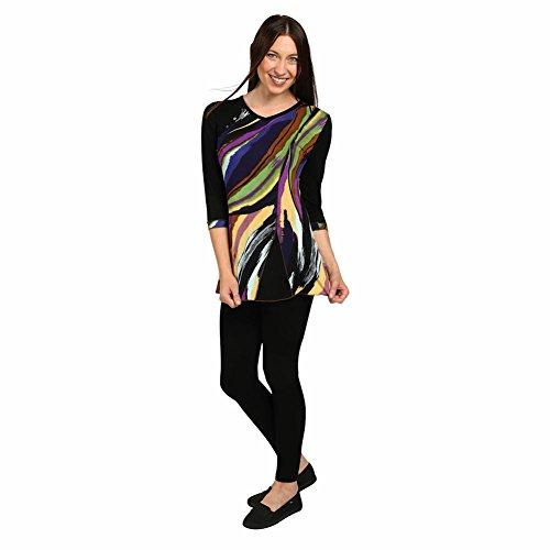 CATALOG CLASSICS Women's Tunic Top - Sierra Sunset Design on Black Shirt - 1X
