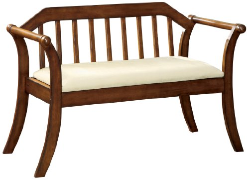 Furniture of America Halton Accent Bench, Dark Oak (Furniture Settee Wood)