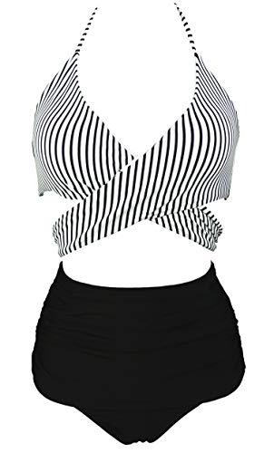 COCOSHIP Black & White Striped Vintage Vibrant Ruched High Waist Bikini Set Cross Push Up Sport Tie Back Cruise Swim Beachwear 6