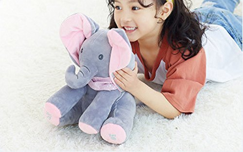 OMGOD Plush Toy peek-a-Boo Elephant, Hide-and-Seek Game Baby Animated Plush Elephant Doll Present - Pink