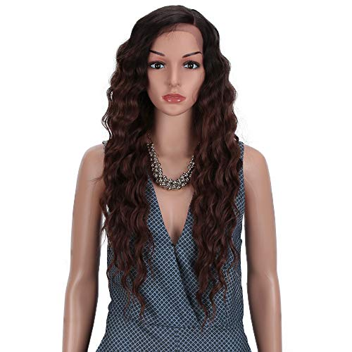 Joedir Lace Front Wigs 28 Long Curly Wavy Ombre Brown Hight Temperature Synthetic Wigs For Black Women 130% Density Wigs