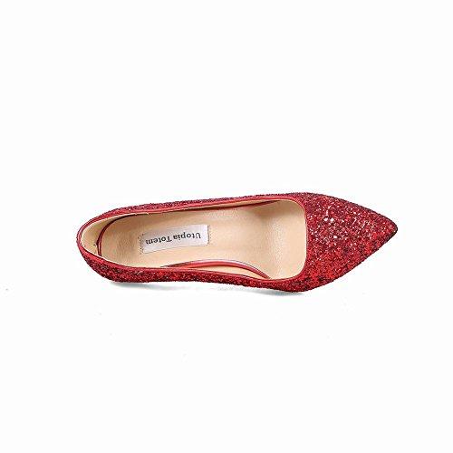 MissSaSa Damen Stiletto Glitzer Pailletten Abendschuhe Rot(5.5cm)