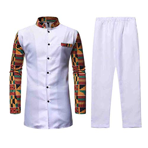 KINGOLDON Men Slim Fit Stand Printed Muscle Tee T-Shirt Casual Medium Fashion Length Suit White