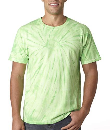 (Tie-Dyed Tie-Dye 5.4 oz. 100% Cotton T-Shirt (CD100) Spider Lime, 2XL)