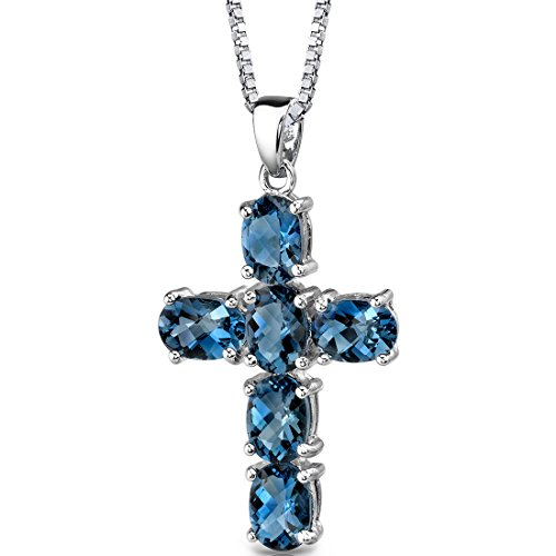 (London Blue Topaz Cross Pendant Necklace Sterling Silver Rhodium Nickel Finish 6.00)