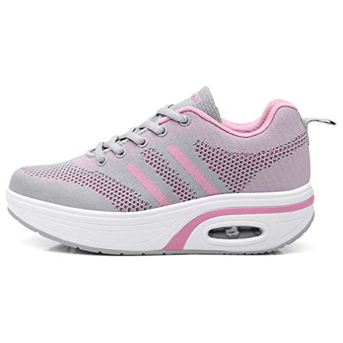 Up Leather Shoes Grey Mesh amp;pink Walking Wedges Lace Sneakers Platform amp; Womens Sports 368 Orlancy XtwfPq47