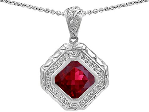 ut Created Ruby Bali Style Pendant Necklace Sterling Silver (Bali Style Star)