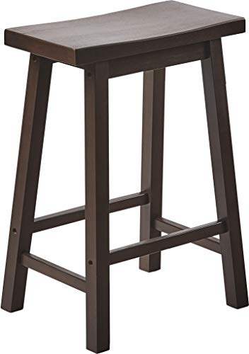 - PJ Wood 24-Inch Saddle Seat Counter Stool - Walnut