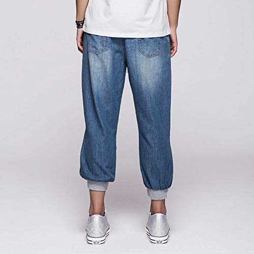 L Donn Waist Cotone Jeans Harem Elastic Vitello Plus Summer Donna Rlwfjxh Lunghezza Stretch Light Xl Size Stretch Capri Bleached Wash H58aO