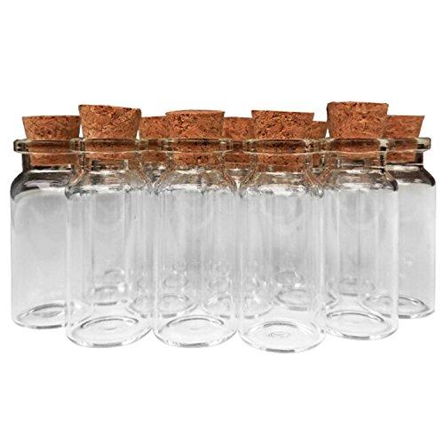 Tinkerbell Laser - Axe Sickle 10ml Cork Jar Glass Bottles 48pcs DIY Decoration Mini Glass Bottles Favors, Mini Vials Cork, Message Glass Bottle Vial Cork, Small Glass Bottles Jars Corks for Wedding Party Favors.