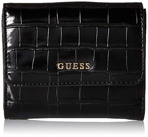 (GUESS Kamryn Croc Card and Coin Purse, black)