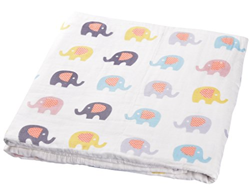 "MEJU Elephant Cute 6 Layer Soft Fine Muslin Cotton Nursery Bed Blanket for Baby Toddler Kids, 44"" x 55"", Boys & Girls Quilt Coverlet Throw Natural Crib Bedding Gift (6) from MEJU"