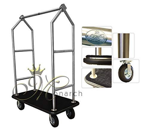 Monarch Carts Stainless Steel Hotel Luggage Cart (Wheel Bellman Cart)