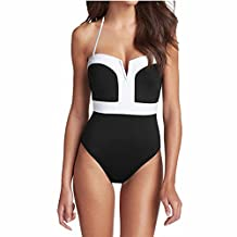 QWQHI Women's One Piece Black White Strapless Front V Cut Monokini Swimsuits