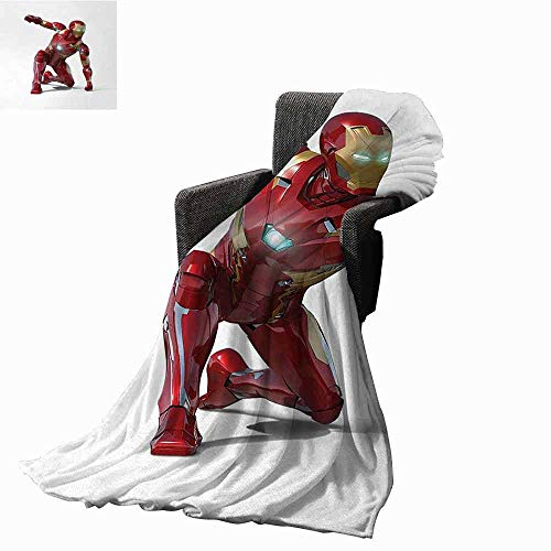 Superhero Weighted Blanket Adult,Robot Transformer Hero with Superpower in Costume Cyber Man Fun Character Print Soft Fuzzy Cozy Lightweight Blankets (50