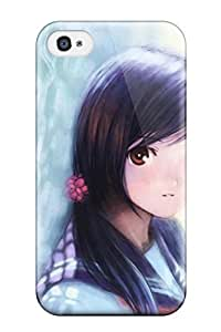 New Premium Flip Case Cover Schoolgirl By The Fence Skin Case For Iphone 4/4s wangjiang maoyi