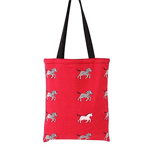Flowertree Women's Animal Pattern Canvas Tote Bag (Zebra Red/Zip) -