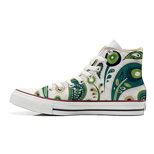 Converse All Star zapatos personalizados (Producto Handmade) White Green Paisley 1
