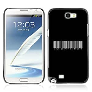 DesignHeaven Slim Design Case Samsung Galaxy Note 2 II ( Cool Barcode Love Bought Black White )