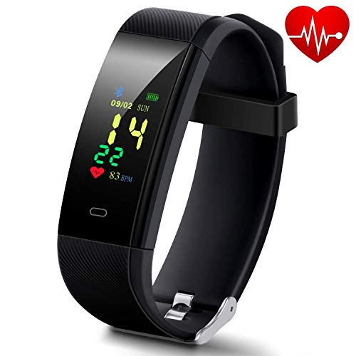 HISILI Waterproof Fitness Tracker with Pedometer for Walking, Smart Watch with Heart Rate Monitor, Blood Pressure Monitor, GPS Tracker, Calories Counter, Sleep Monitor for Women Kids and Men (Dark)