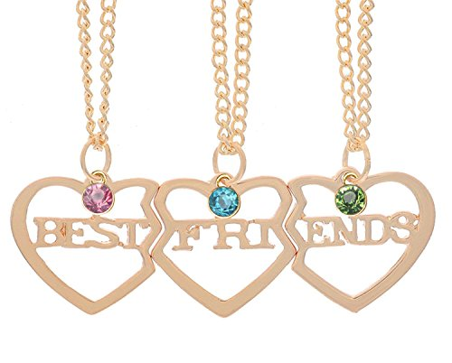 LINKY Best Friends Letter Filigree Trio Heart Puzzle Pendant Chain Necklace Set of 3 (Yellow)