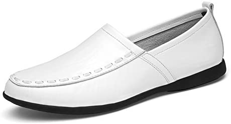 You Are Fashion メンズ本革モカシンスエードインソールファッションスリップオンカジュアルメンズローファー高品質金属装飾アップリケ本物の本革の靴男フラットシューズ (Color : White Breathable Style, サイズ : 27.5 CM)