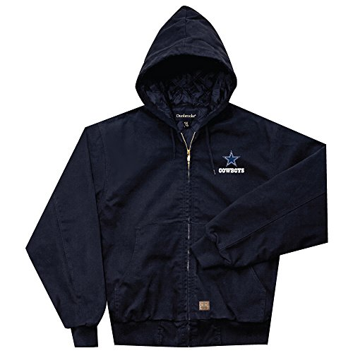 - NFL Dallas Cowboys Cumberland Canvas Quilt Lined Hooded Jacket, Navy, Large