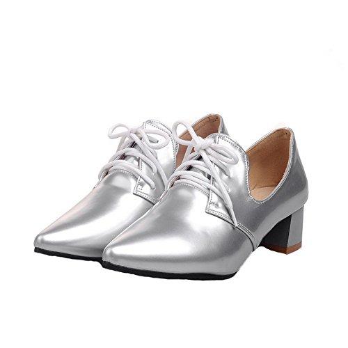 VogueZone009 Tacco Ballet Flats Maiale Argento Pelle di Allacciare Donna Basso rOAxgr