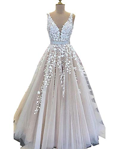 Scarisee Women's A-line/Princess V-Neck Formal Evening Dresses Beading Lace Appliques Prom Party Gowns ()