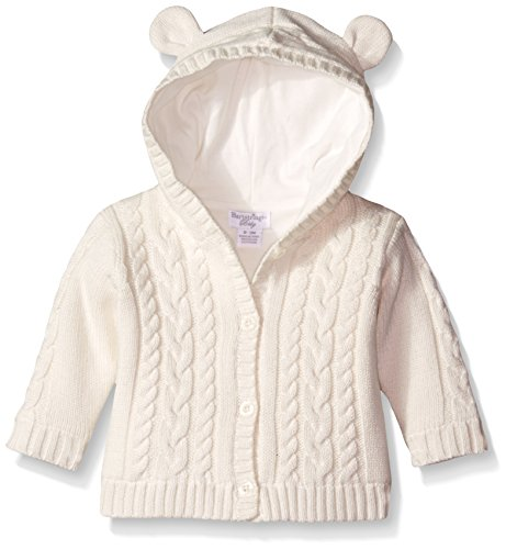 Hartstrings Baby-Girls Lined and Hooded Cotton Cardigan Sweater, Marshmallow, 0-3 Months (Hartstrings Cotton Cardigan)