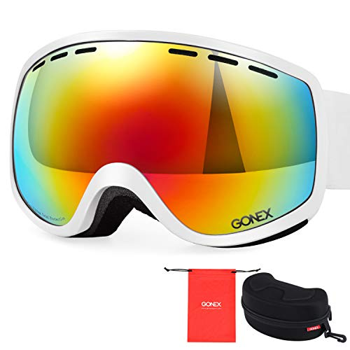 Gonex Ski Snow Goggles Anti-fog Windproof UV400 Protection with Double Spherical Lens with Goggle Case, White, Small
