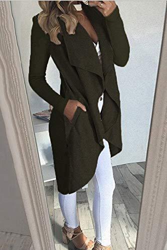 lungo Women verde risvolto Trench For Dazosue Elegante irregolare cappotto zA1Rwn