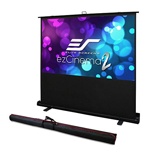 (Elite Screens ezCinema 2, Manual Floor Pull Up with Scissor Backed Projector Screen, 84-inch 16:9, Portable Home Theater Office Classroom Projection Screen with Carrying Bag, F84XWH2)