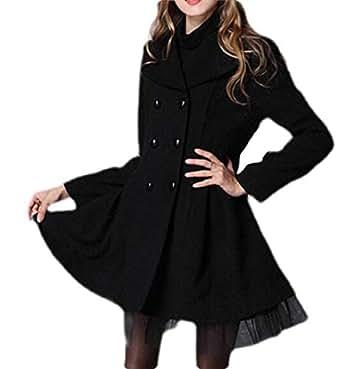 Macondoo Women's Lapel Lace Hem Casual Woolen Double Breasted Pea Coat Black X-Small